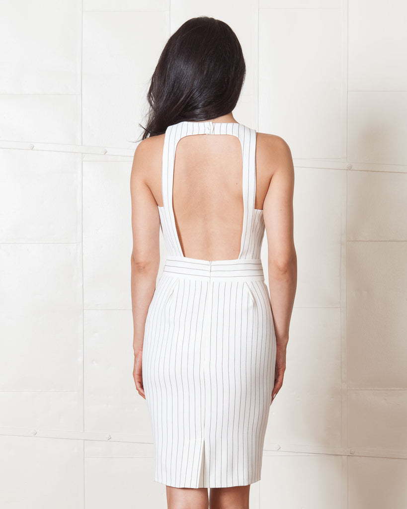 Finders Keepers As You Are Twist Pinstripe Dress