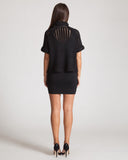 Joa Black Knit & Sheer Top