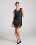 Joa Black Leather Shift Dress
