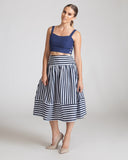 Joa Navy And White Striped Skirt