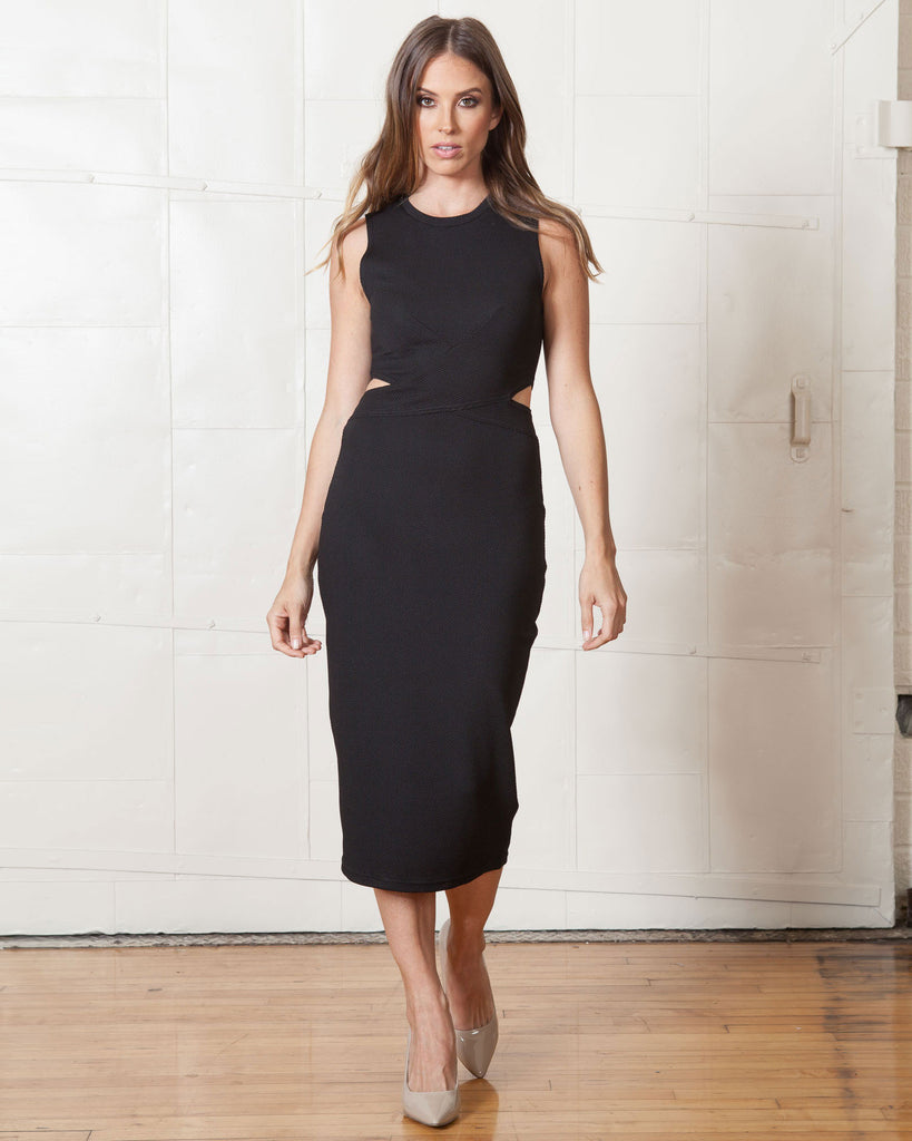 Fifth Label Starstruck Black Midi Dress