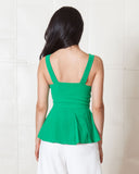 None The Richer Melrose Pleated Emerald Top