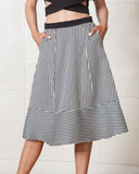 Line & Dot Tiny Stripe Midi Skirt