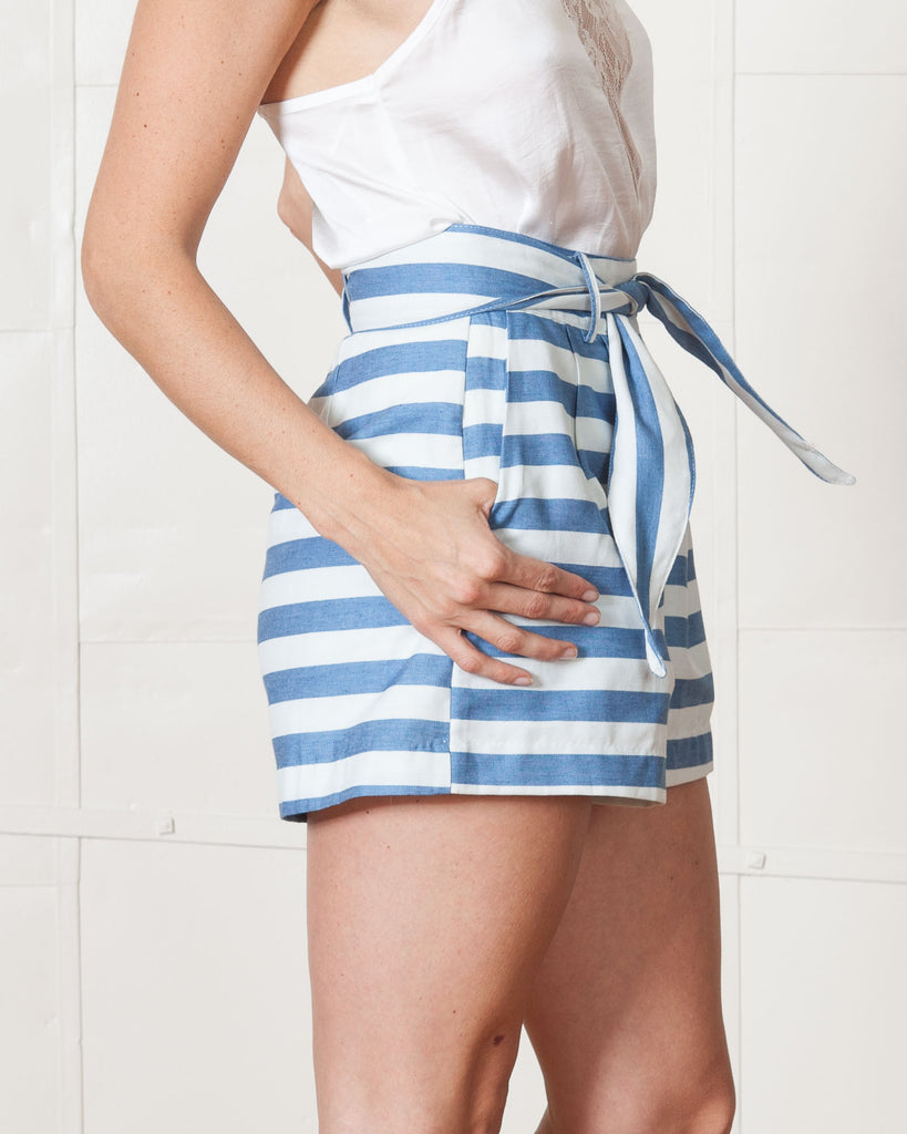 Line & Dot Inez Denim Stripe Shorts