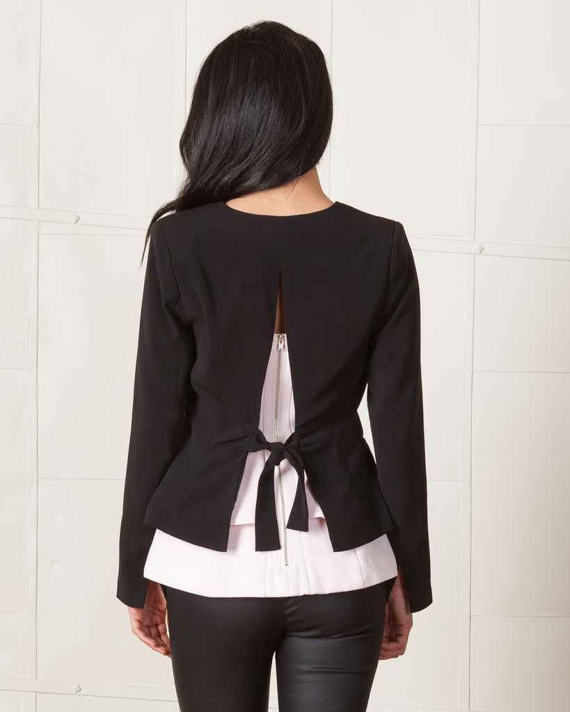 Line & Dot Black Abstract Blazer