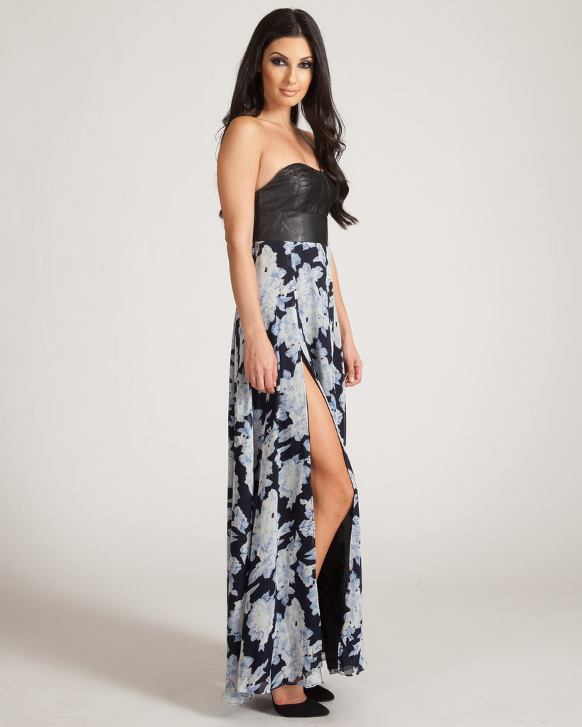 Wyldr Blue Floral Swing By Maxi Dress