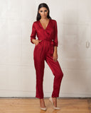 WYLDR Sophie Red Satin Jumpsuit