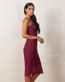 Keepsake Interlude Plum Lace Dress