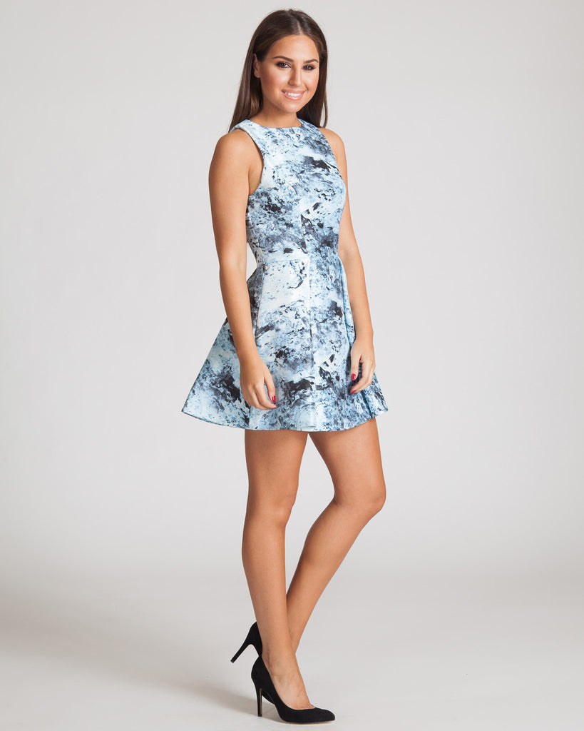 Keepsake Let Me Be Dress-Frost Print