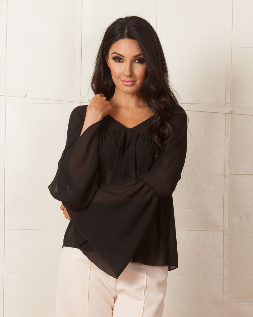 WYLDR Eryn Boho Sleeve Black Blouse