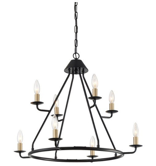 8 - Light Candle Style Tiered Chandelier