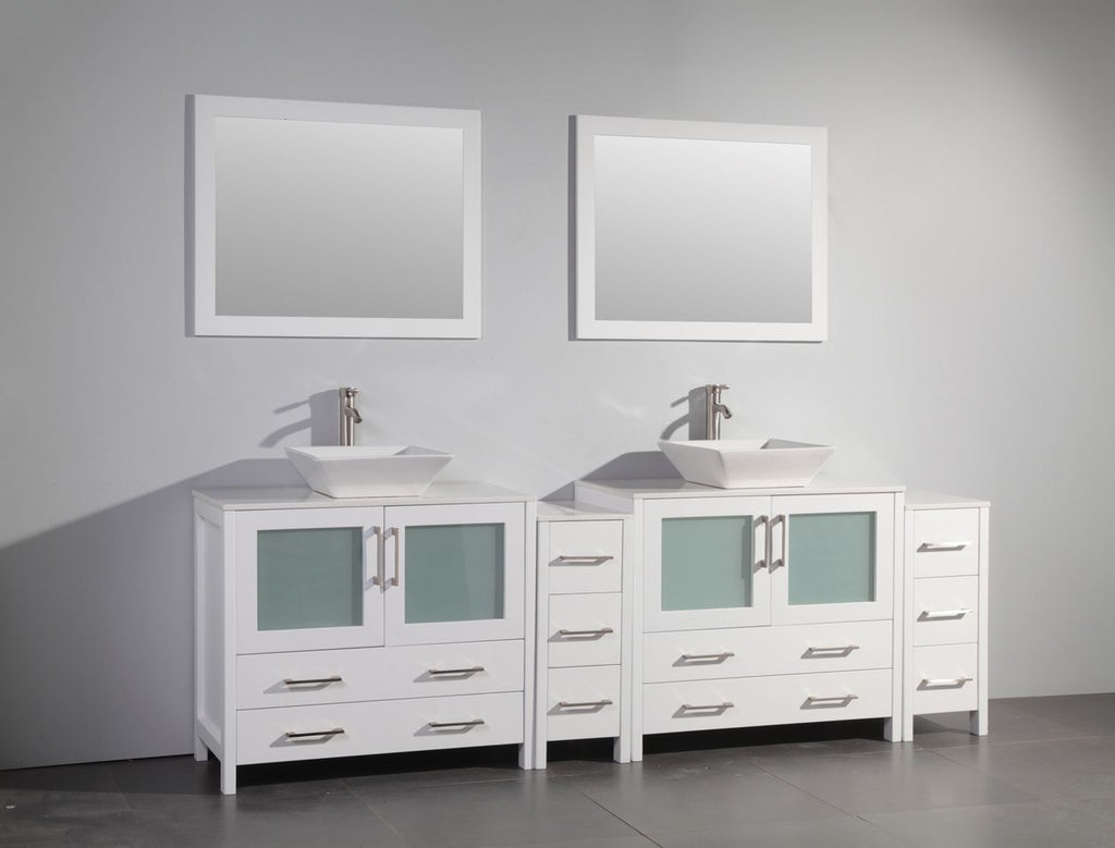 "96"" Double Sink Bathroom Vanity Set with Ceramic Vanity Top, White"