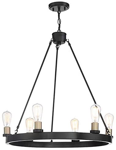 6 - Light Candle Style Wagon Wheel Chandelier, Black and Brass Dust