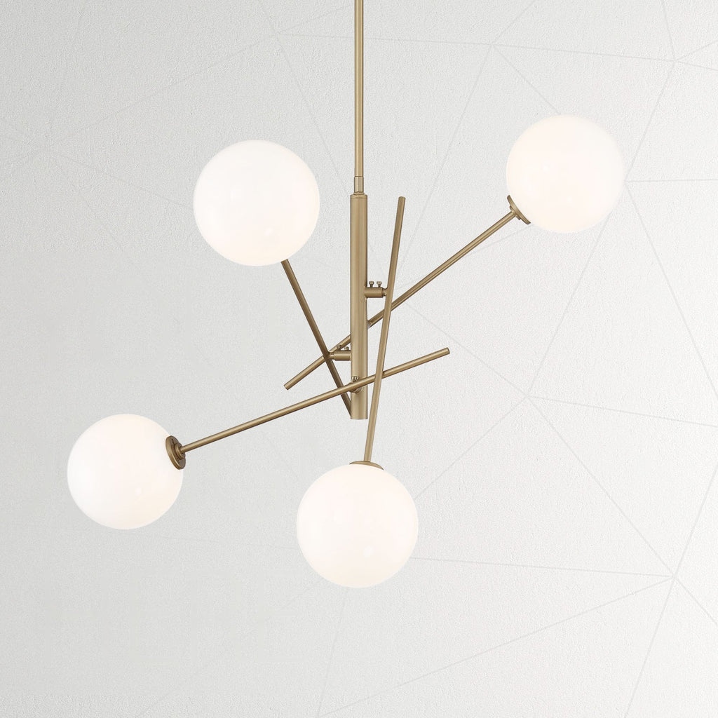 4 - Light Sputnik Sphere Chandelier Brass Dust