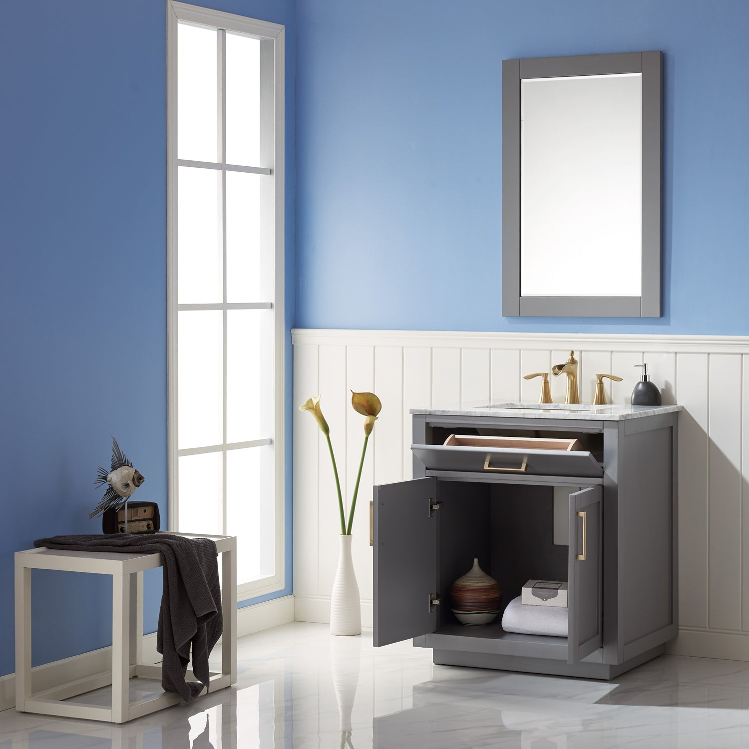 "Ivy 30"" Single Bathroom Vanity Set in Gray and Carrara White Marble Countertop with Mirror"