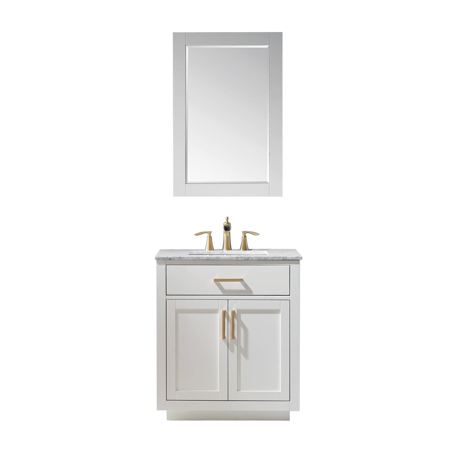 "Ivy 30"" Single Bathroom Vanity Set in White and Carrara White Marble Countertop with Mirror"