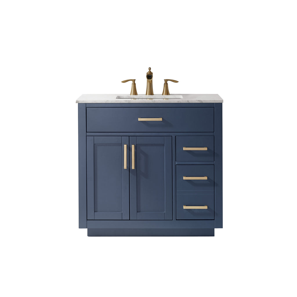 "Ivy 36"" Single Bathroom Vanity Set in Royal Blue and Carrara White Marble Countertop without Mirror"