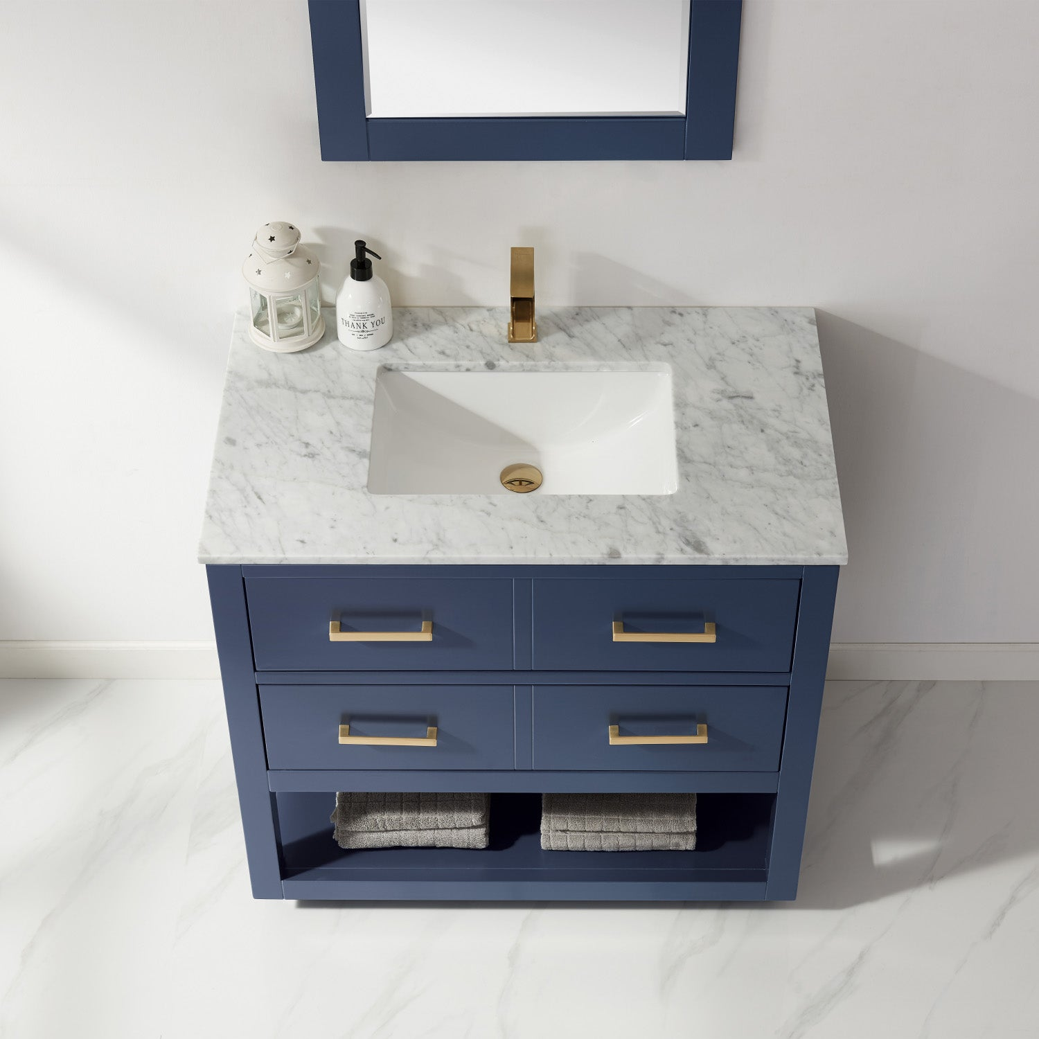 "Remi 36"" Single Bathroom Vanity Set in Royal Blue and Carrara White Marble Countertop with Mirror"