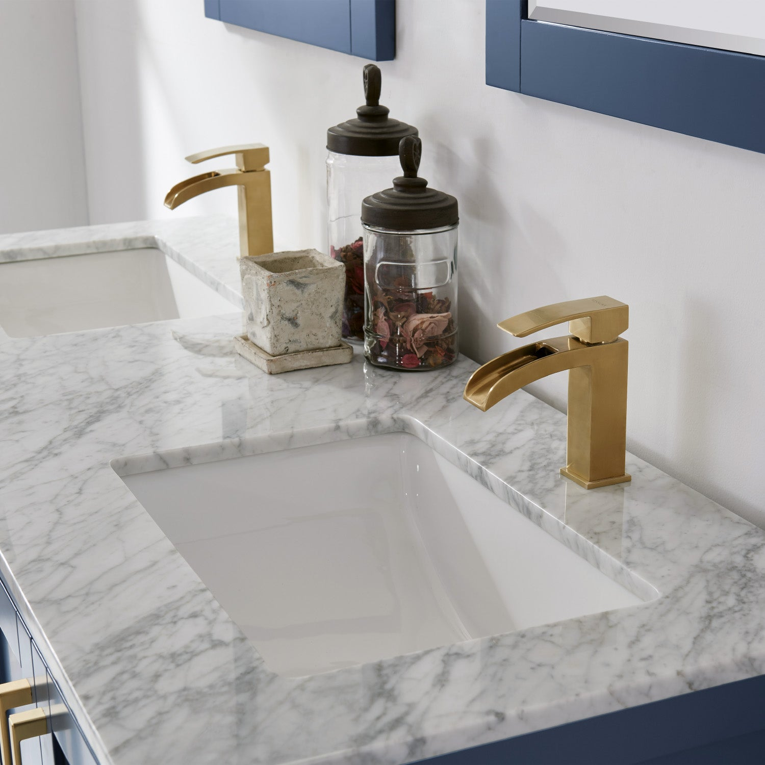 "Remi 60"" Double Bathroom Vanity Set in Royal Blue and Carrara White Marble Countertop with Mirror"