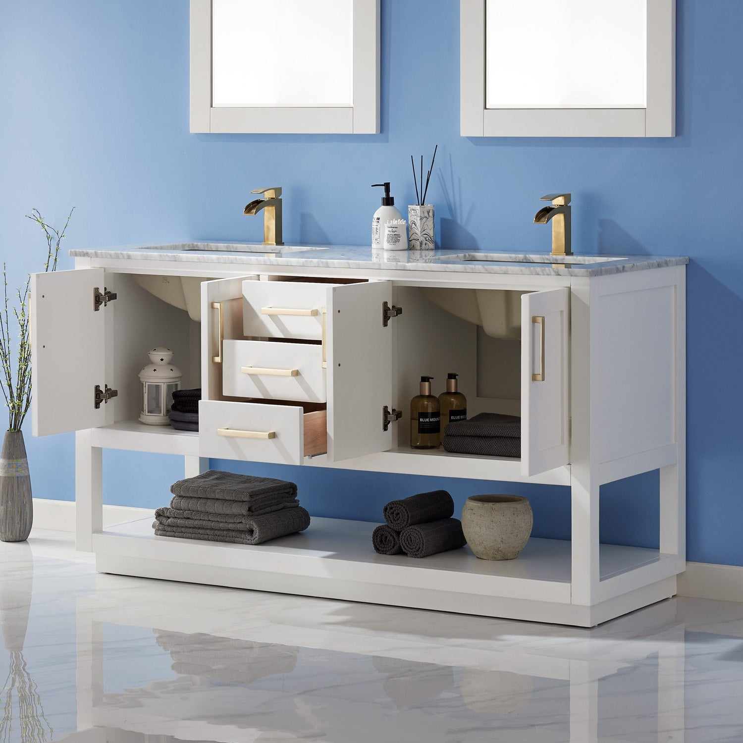 "Remi 60"" Double Bathroom Vanity Set in White and Carrara White Marble Countertop with Mirror"