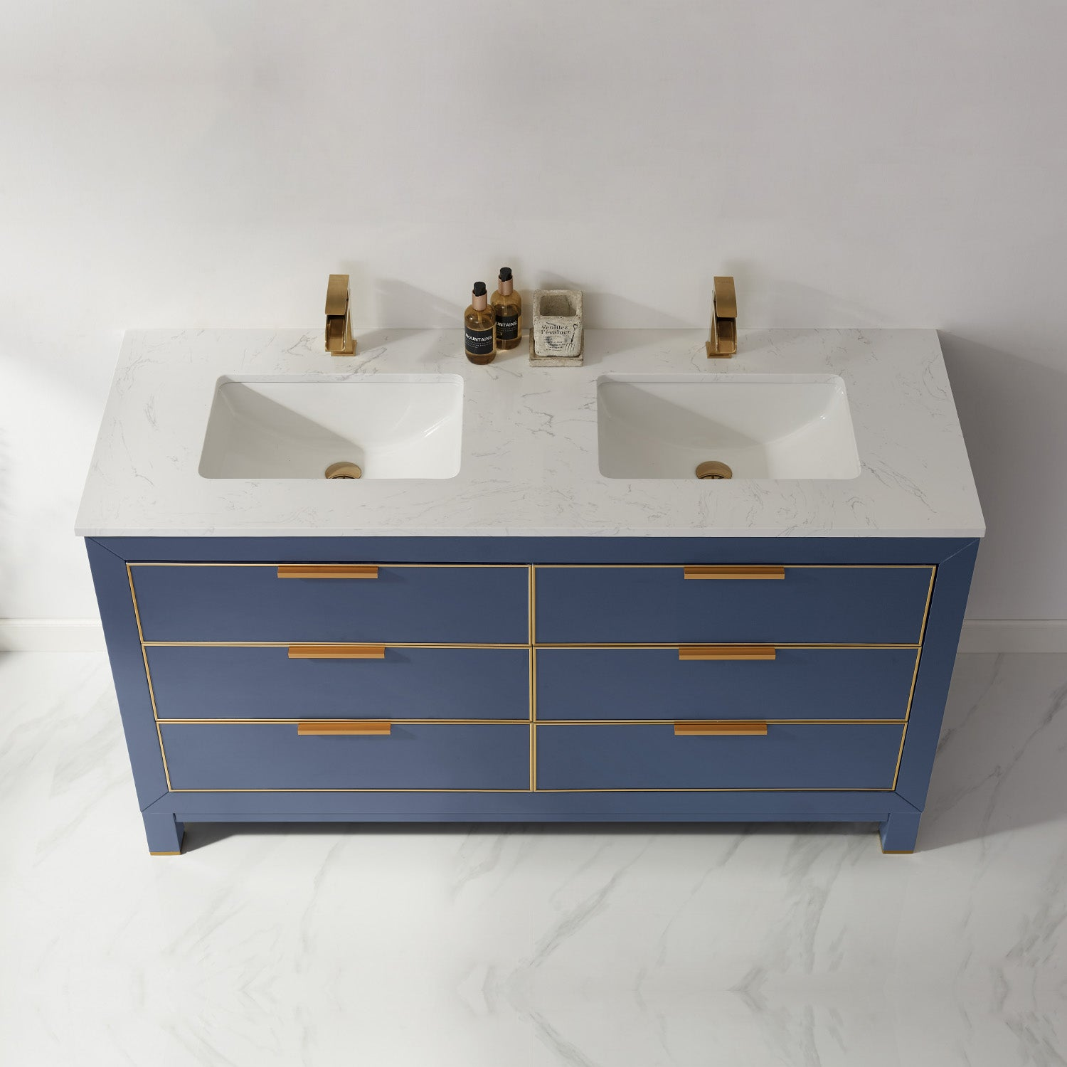 "Jackson 60"" Double Bathroom Vanity Set in Royal Blue and Composite Carrara White Stone Countertop without Mirror"