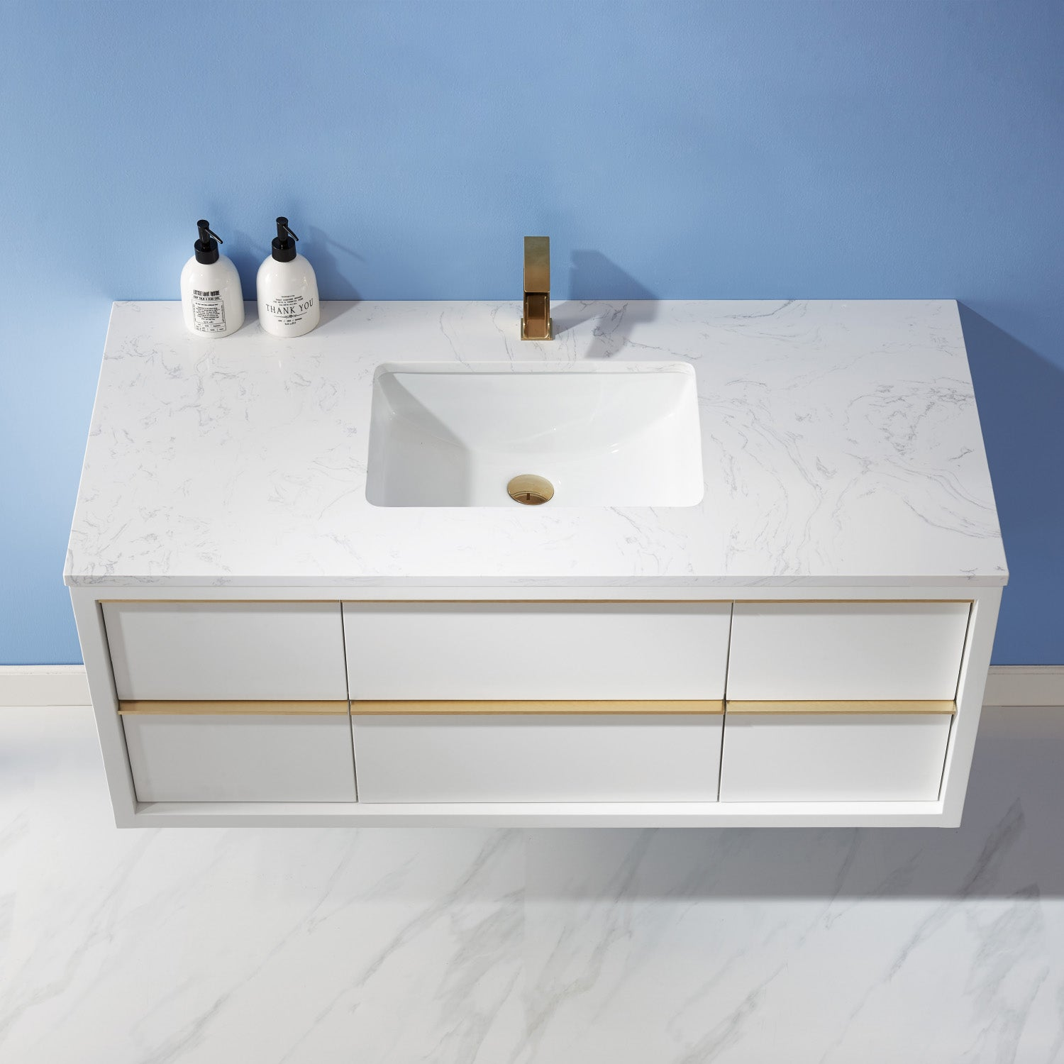 "Morgan 48"" Single Bathroom Vanity Set in White and Composite Carrara White Stone Countertop without Mirror"