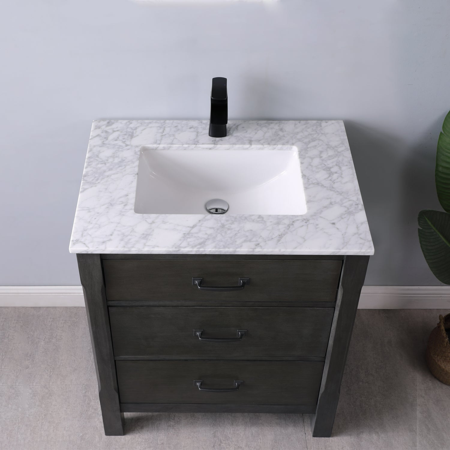 "Maribella 30"" Single Bathroom Vanity Set in Rust Black and Carrara White Marble Countertop without Mirror"