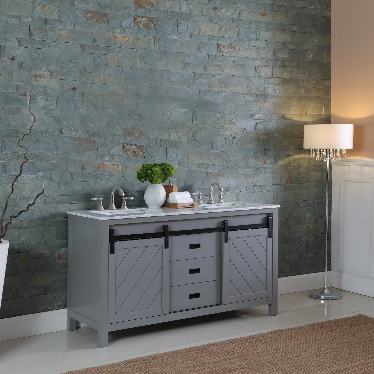 "Kinsley 60"" Double Bathroom Vanity Set in Gray and Carrara White Marble Countertop without Mirror"