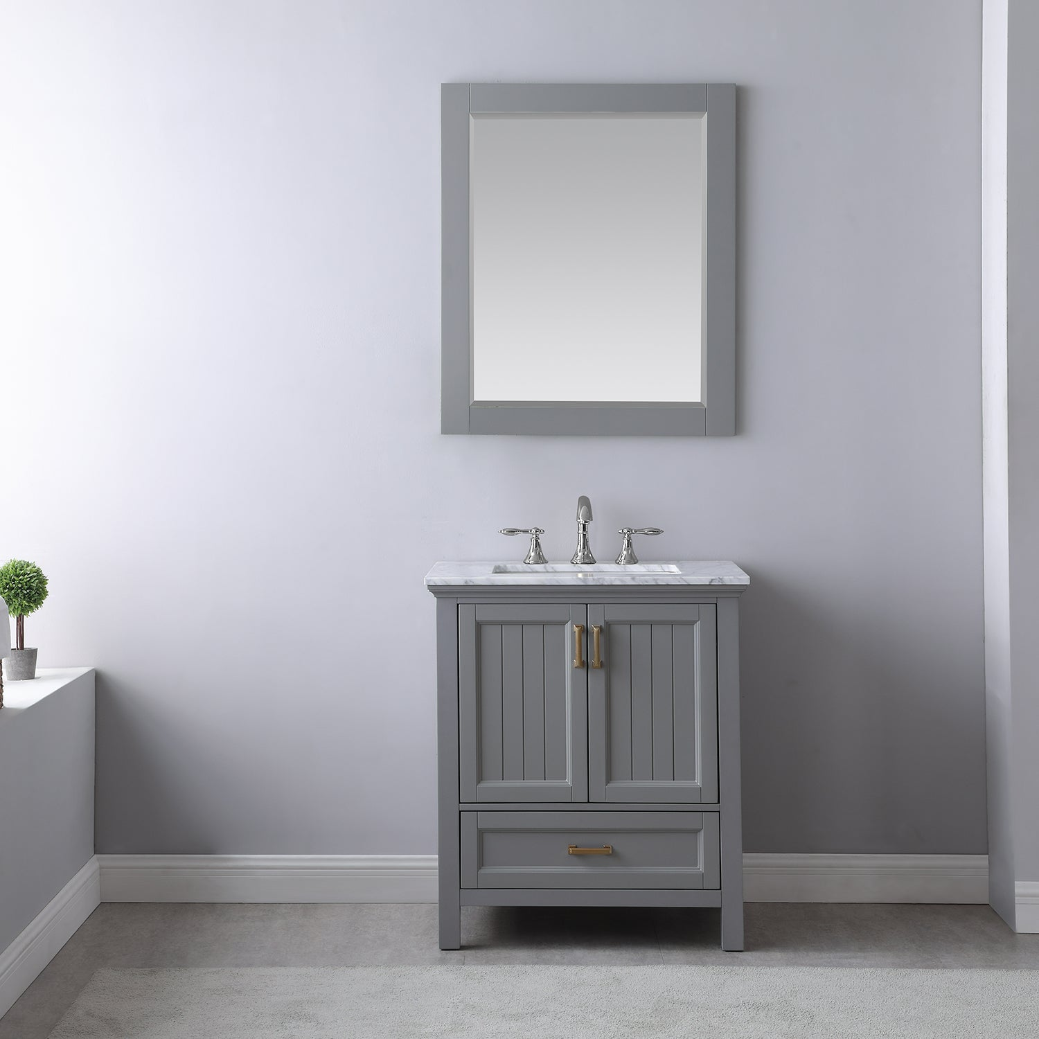 "Isla 30"" Single Bathroom Vanity Set in Gray and Carrara White Marble Countertop with Mirror"