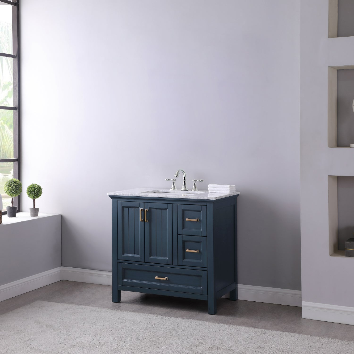 "Isla 36"" Single Bathroom Vanity Set in Classic Blue and Carrara White Marble Countertop without Mirror"