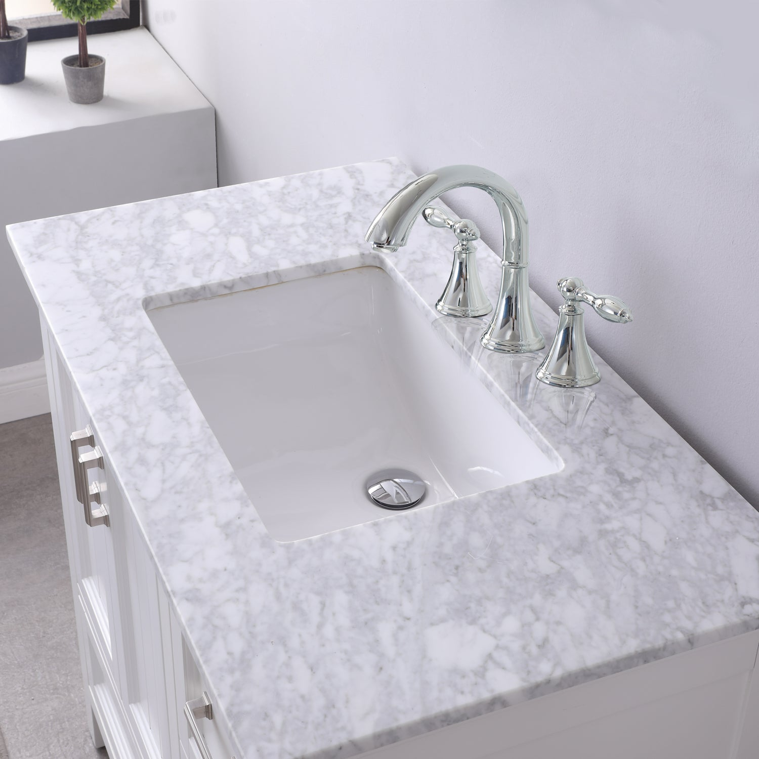 "Isla 36"" Single Bathroom Vanity Set in White and Carrara White Marble Countertop with Mirror"