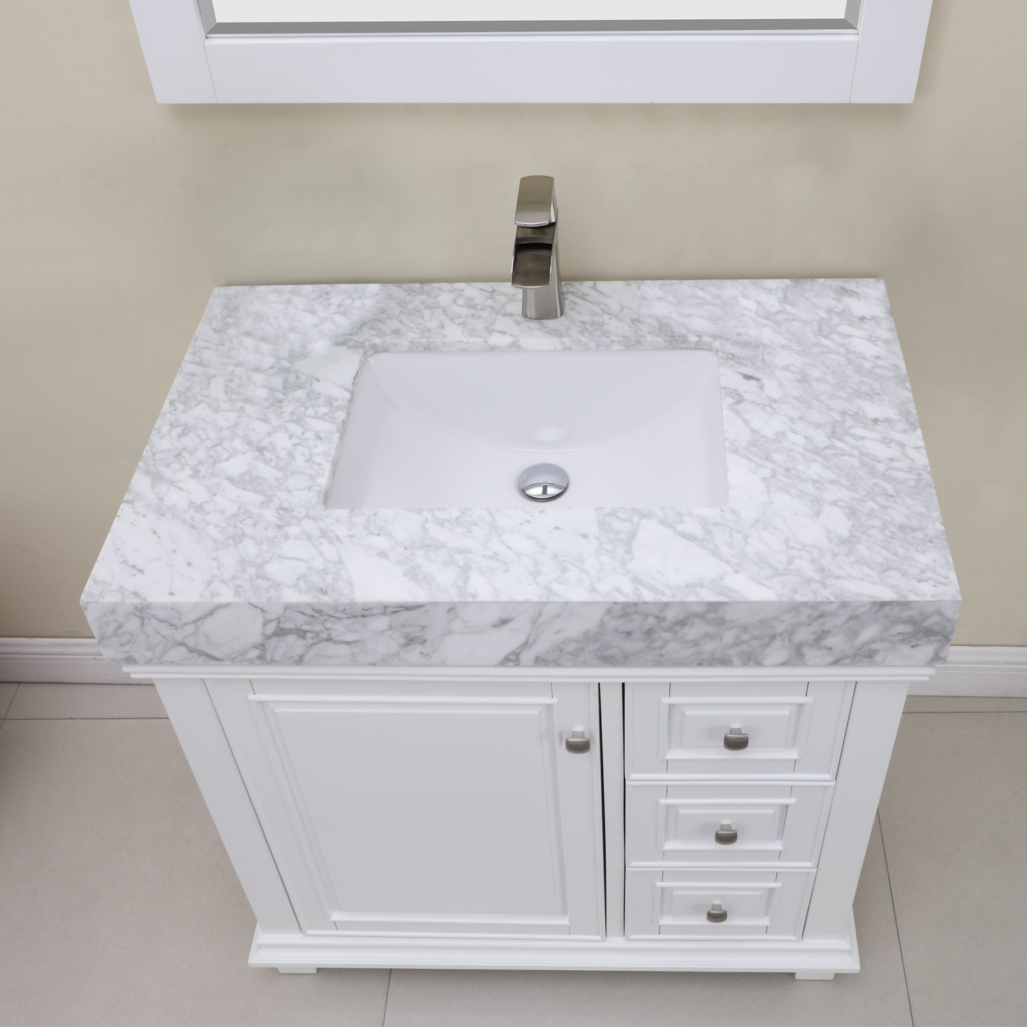 "Jardin 36"" Single Bathroom Vanity Set in White and Carrara White Marble Countertop with Mirror"