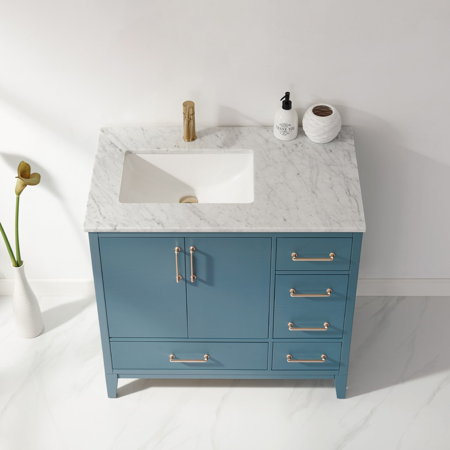 "Sutton 36"" Single Bathroom Vanity Set in Royal Green and Carrara White Marble Countertop without Mirror"