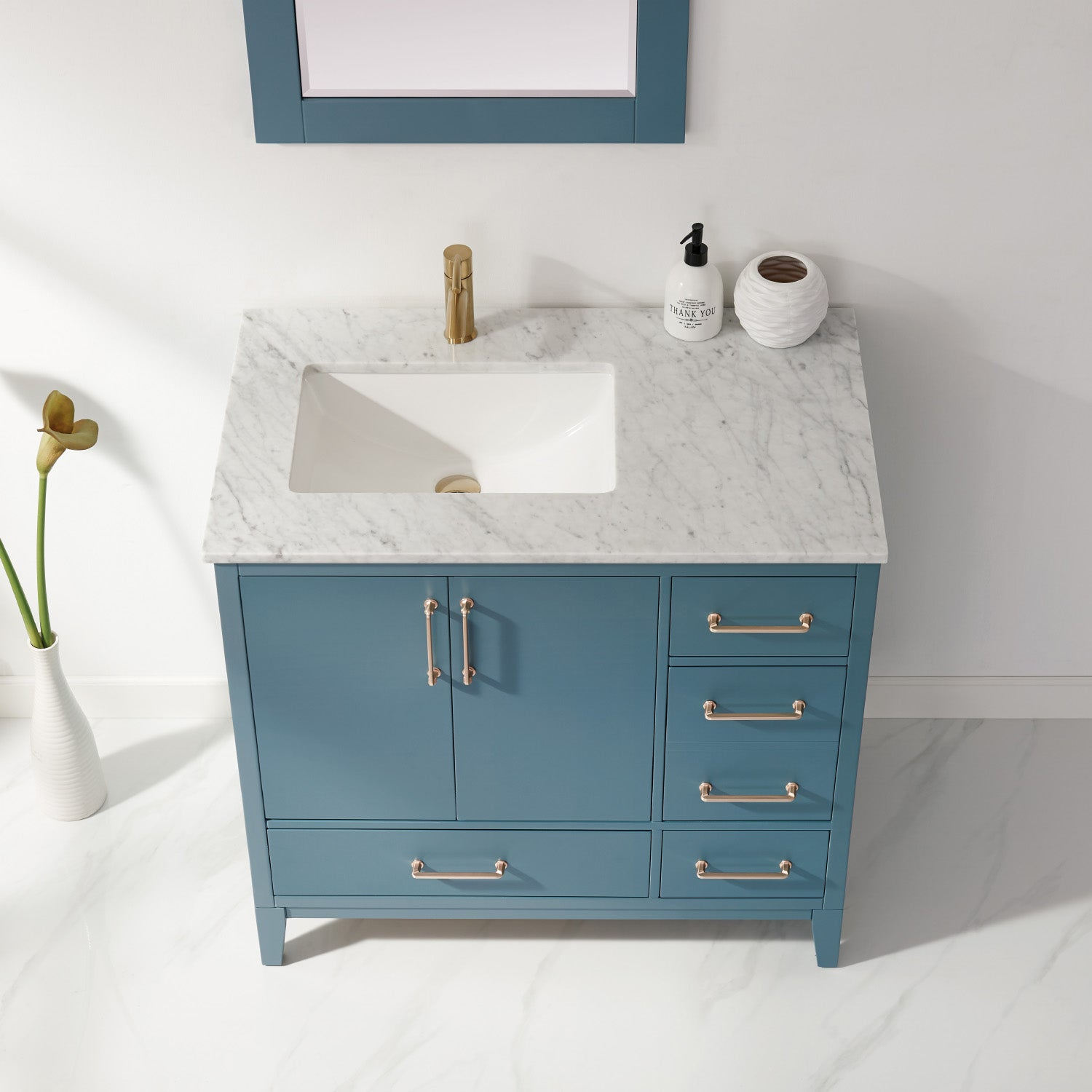 "Sutton 36"" Single Bathroom Vanity Set in Royal Green and Carrara White Marble Countertop with Mirror"