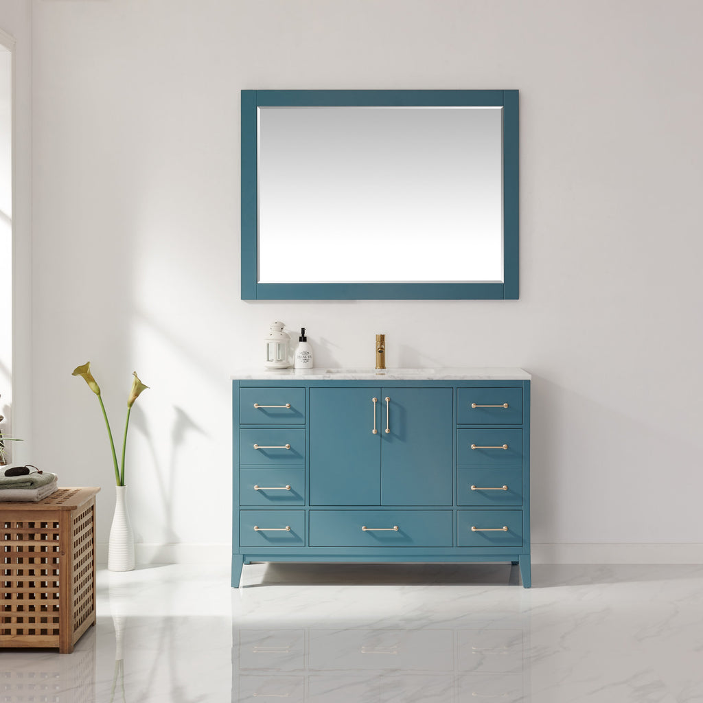 "Sutton 48"" Single Bathroom Vanity Set in Royal Green and Carrara White Marble Countertop with Mirror"
