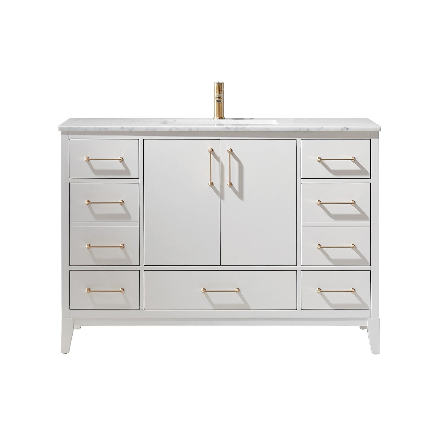 "Sutton 48"" Single Bathroom Vanity Set in White and Carrara White Marble Countertop without Mirror"