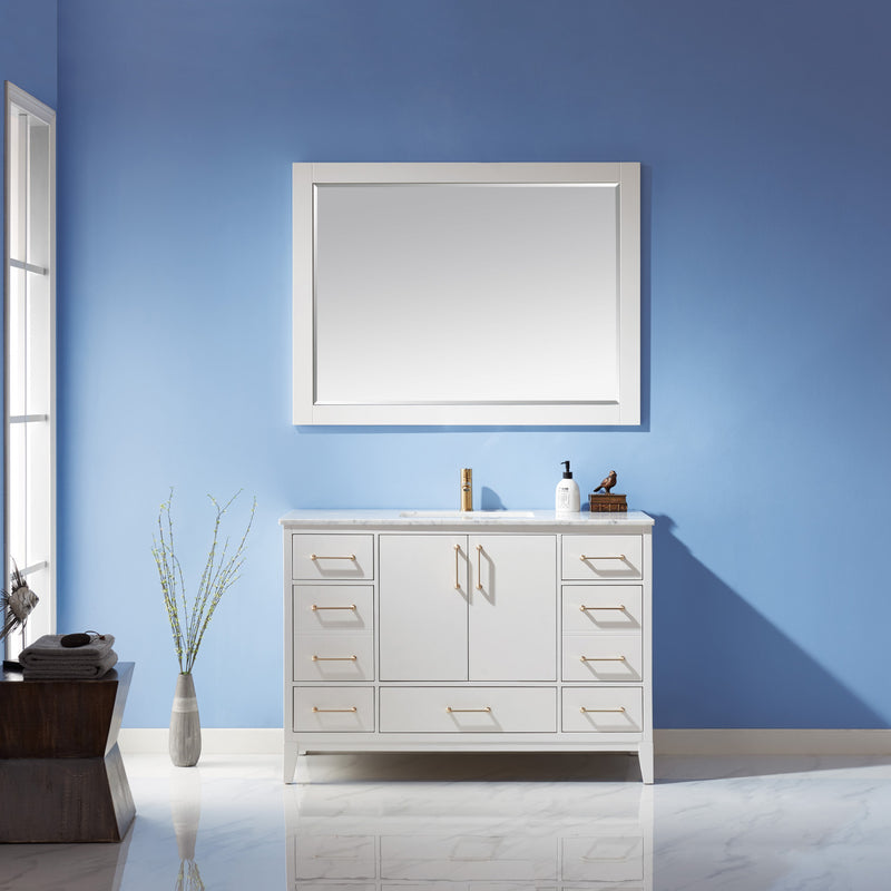 "Sutton 48"" Single Bathroom Vanity Set in White and Carrara White Marble Countertop with Mirror"