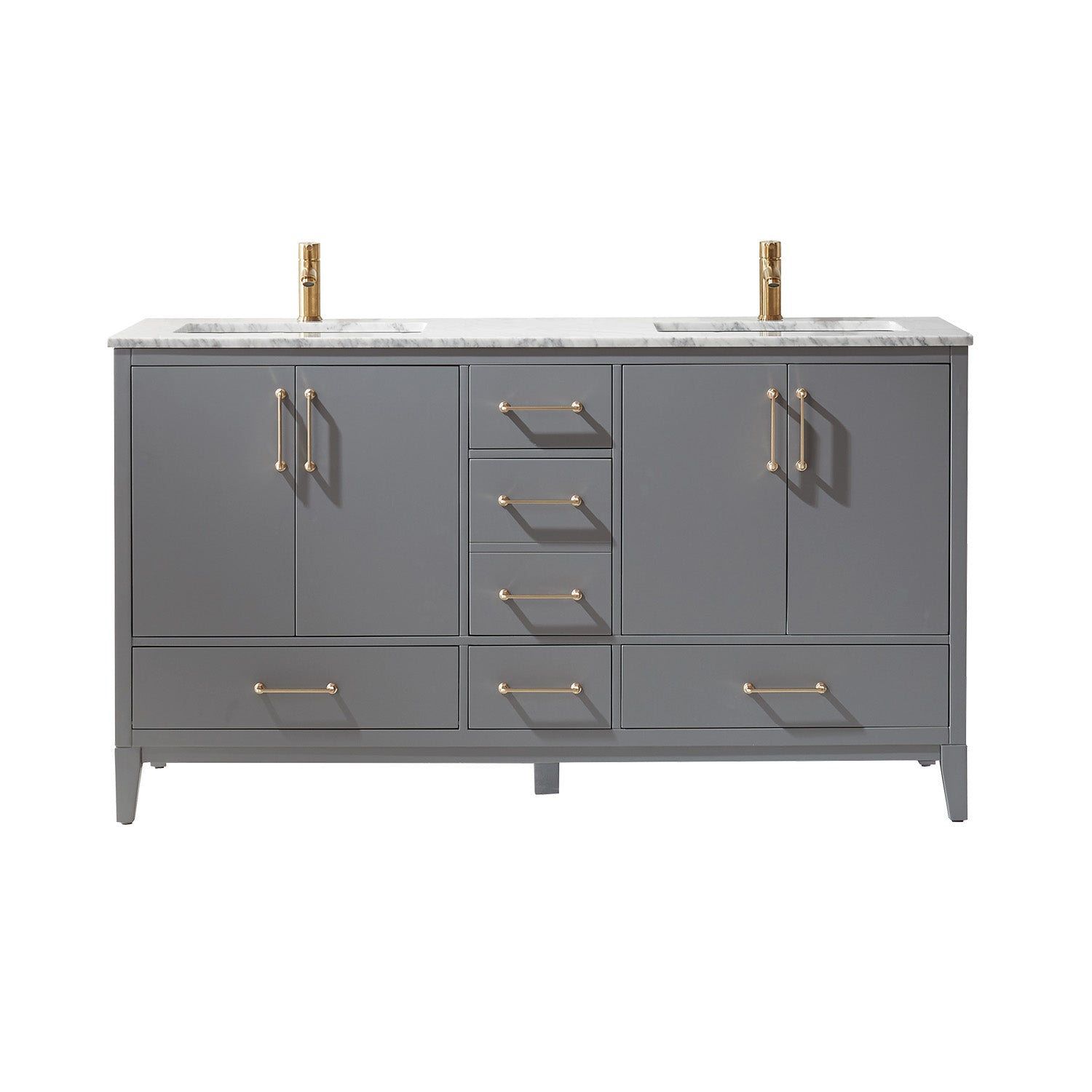 "Sutton 60"" Double Bathroom Vanity Set in Gray and Carrara White Marble Countertop without Mirror"