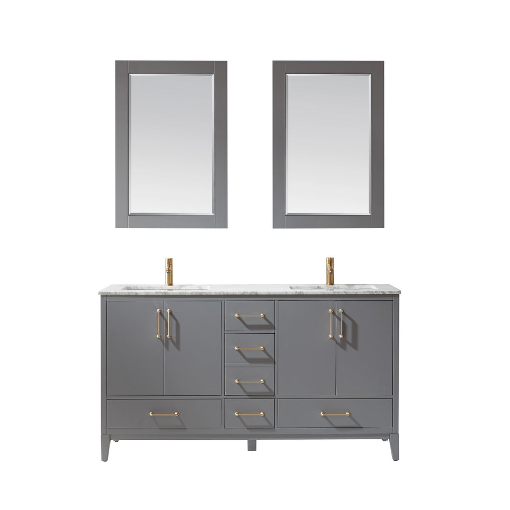 "Sutton 60"" Double Bathroom Vanity Set in Gray and Carrara White Marble Countertop with Mirror"