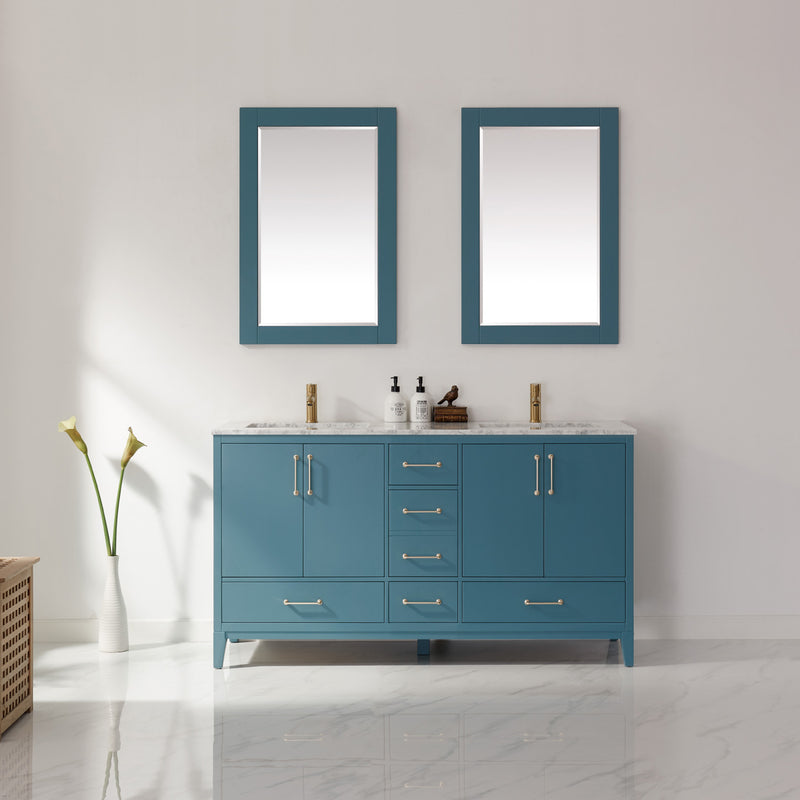 "Sutton 60"" Double Bathroom Vanity Set in Royal Green and Carrara White Marble Countertop with Mirror"