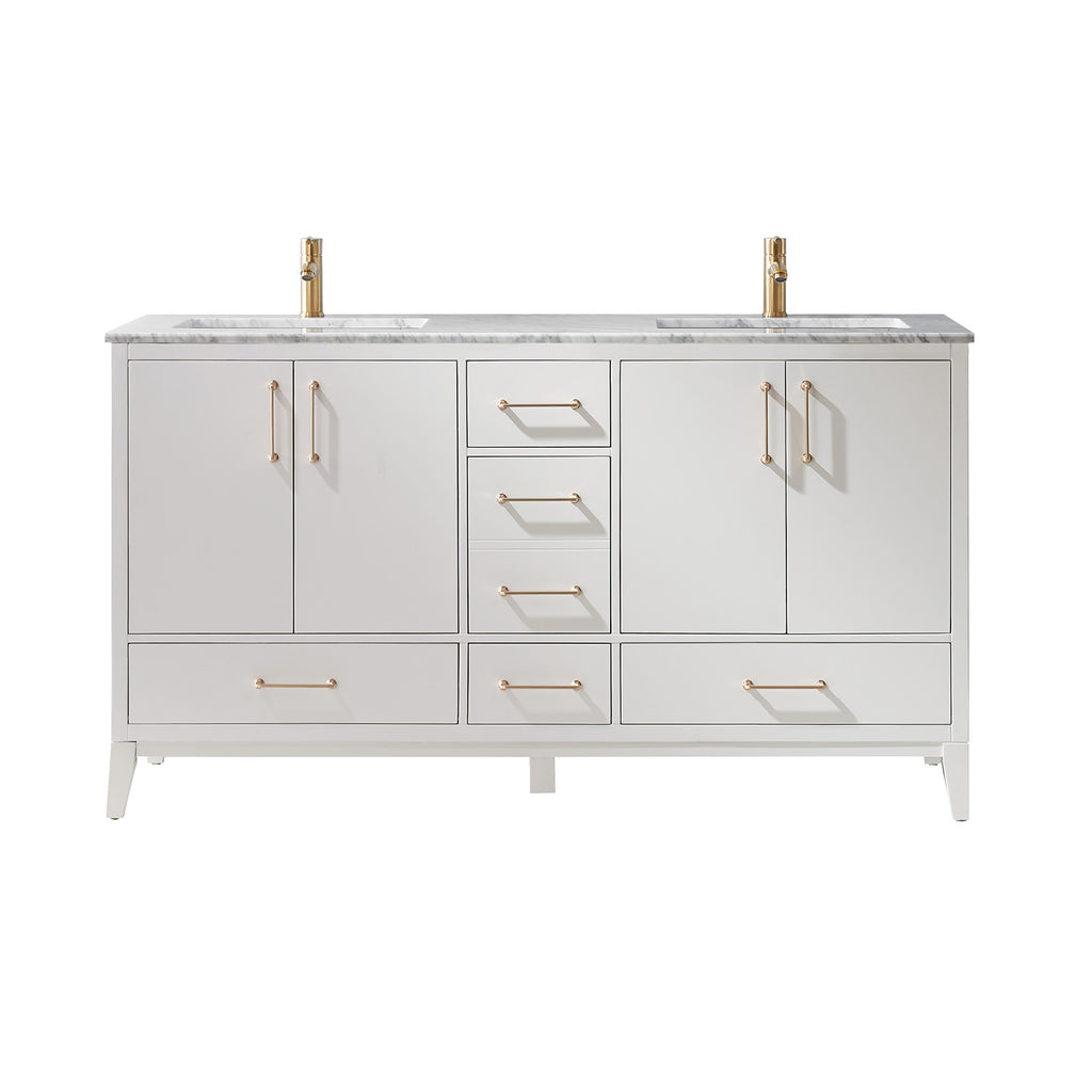 "Sutton 60"" Double Bathroom Vanity Set in White and Carrara White Marble Countertop without Mirror"
