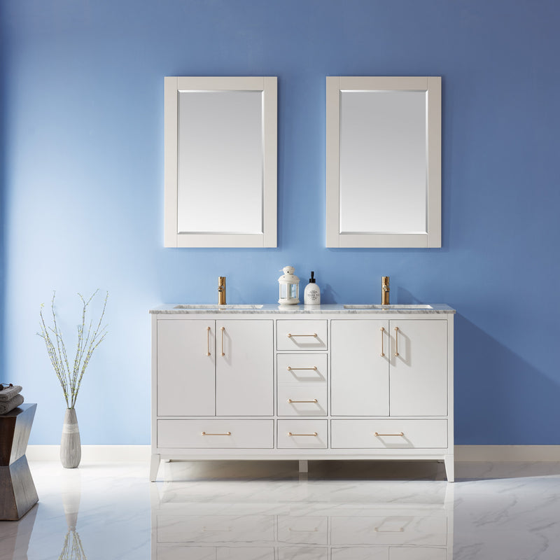 "Sutton 60"" Double Bathroom Vanity Set in White and Carrara White Marble Countertop with Mirror"