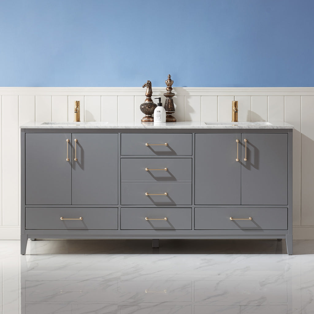 "Sutton 72"" Double Bathroom Vanity Set in Gray and Carrara White Marble Countertop without Mirror"