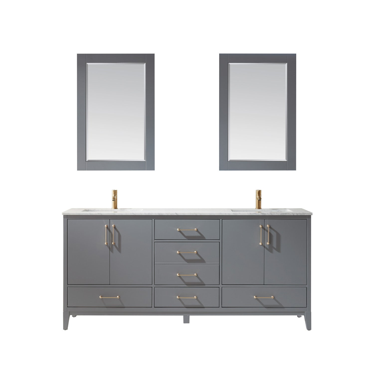 "Sutton 72"" Double Bathroom Vanity Set in Gray and Carrara White Marble Countertop with Mirror"