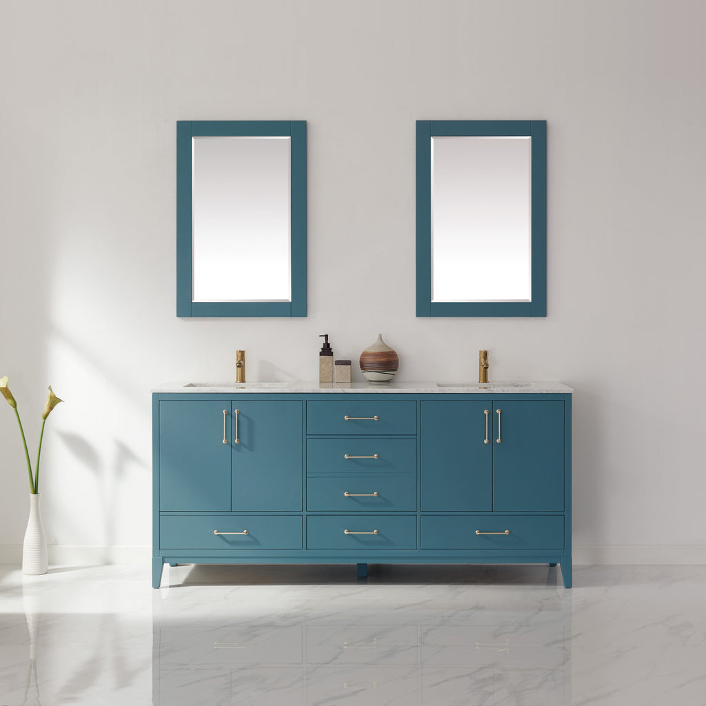 "Sutton 72"" Double Bathroom Vanity Set in Royal Green and Carrara White Marble Countertop with Mirror"