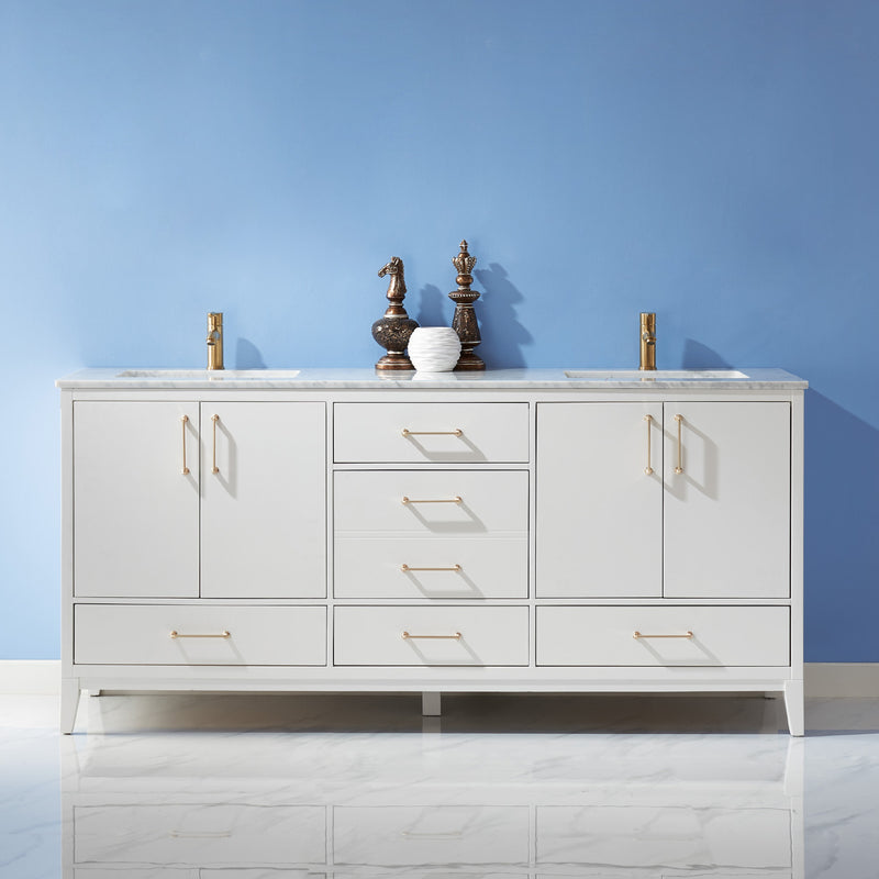 "Sutton 72"" Double Bathroom Vanity Set in White and Carrara White Marble Countertop without Mirror"