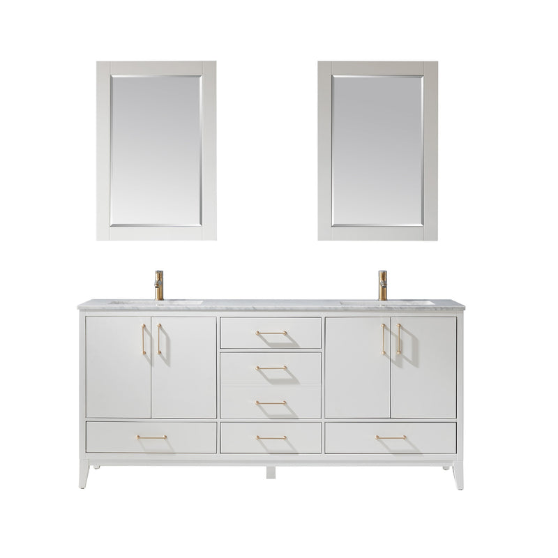 "Sutton 72"" Double Bathroom Vanity Set in White and Carrara White Marble Countertop with Mirror"