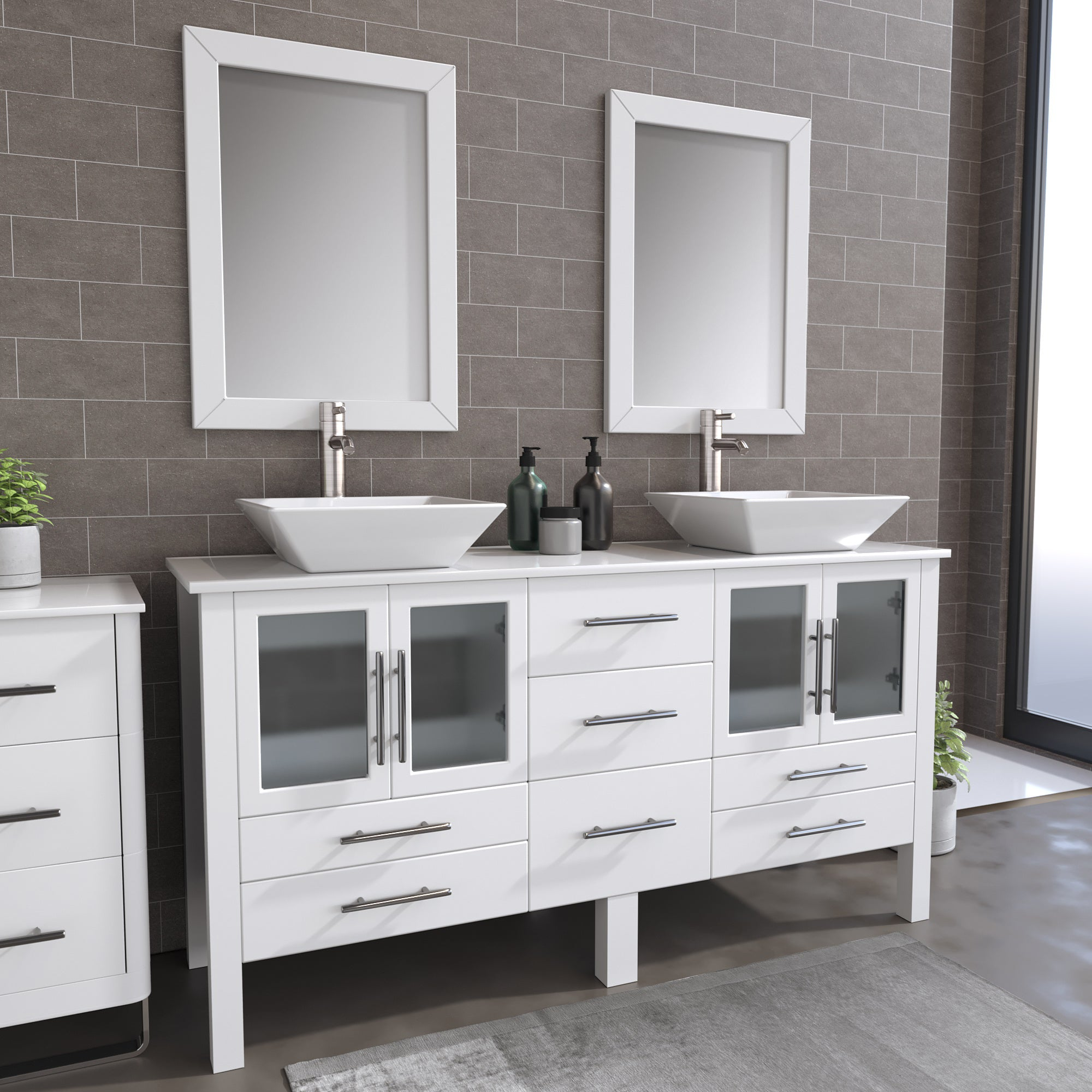 "Complete 63"" Vanity Set with Brushed Nickel Plumbing"