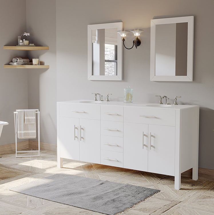 "72"" White Solid Wood and Porcelain Double Vanity Set"