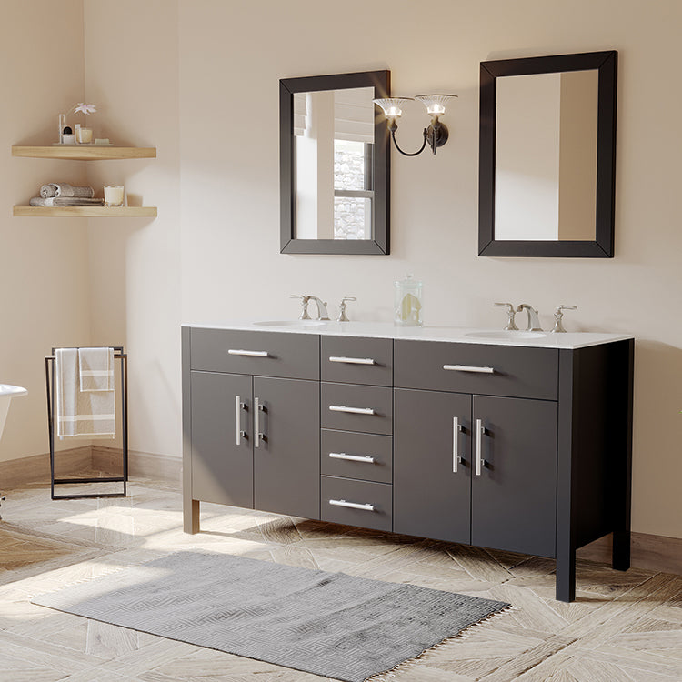 "72"" Espresso Solid Wood and Porcelain Double Vanity Set"